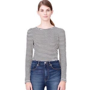 Rebecca Taylor L/S Striped Top Black White Small